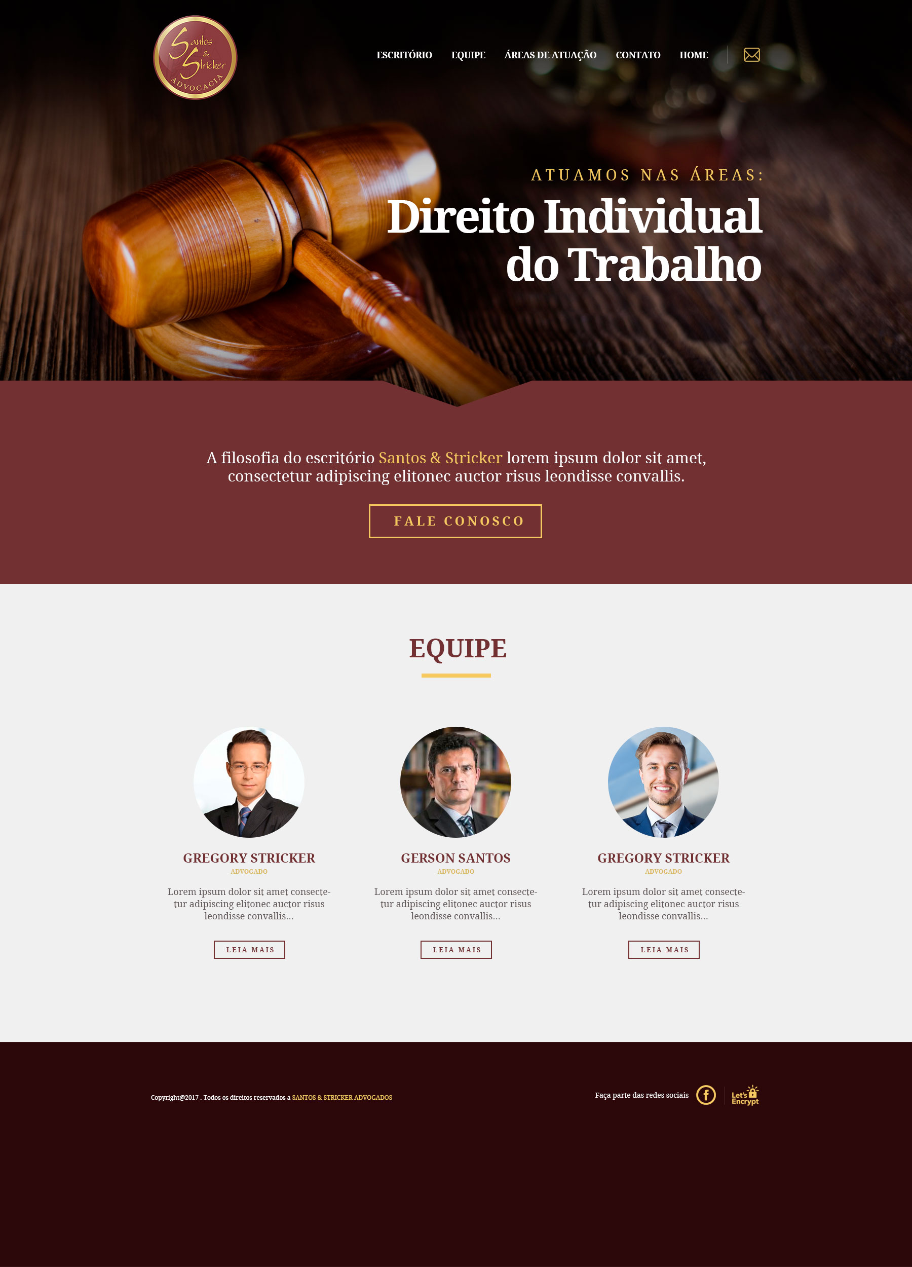 Santos e Stricker Advocacia - Site Home