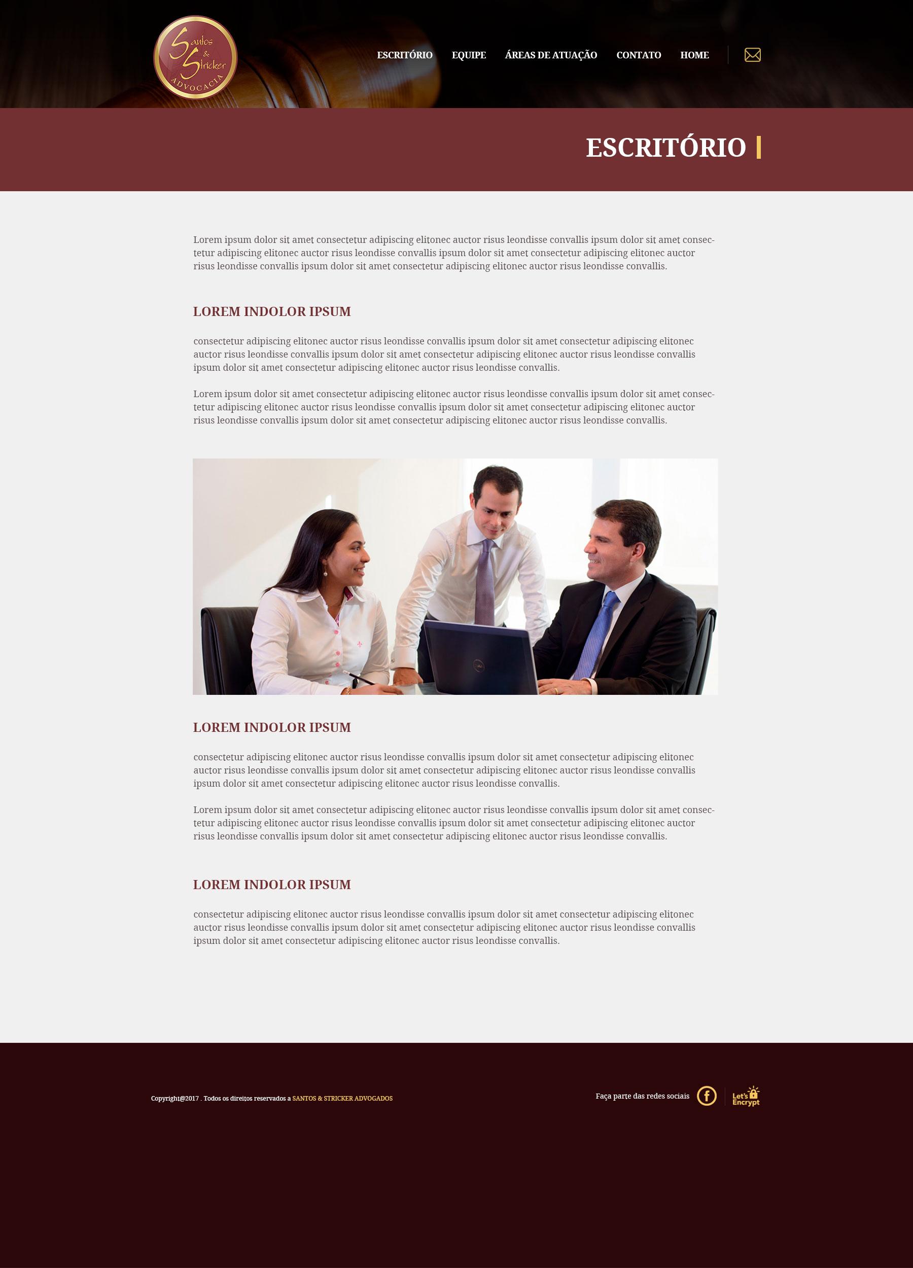 Santos e Stricker Advocacia - Site Internas